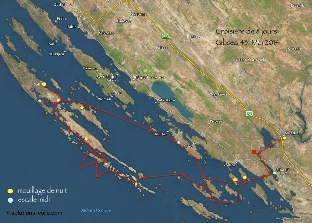 Parcours de croisière aux kornati croatie
