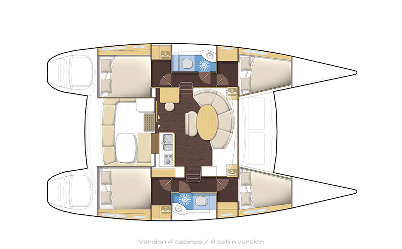 Lagoon 380 Antilles plan