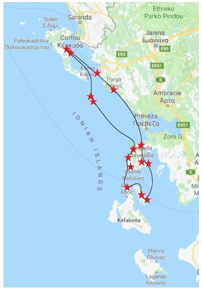 parcours de 14 jours en grece en voilier